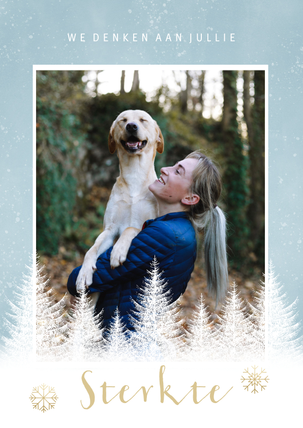 Kerstkaarten - Kerstkaart sterkte met witte boompjes, sneeuwvlokken en foto