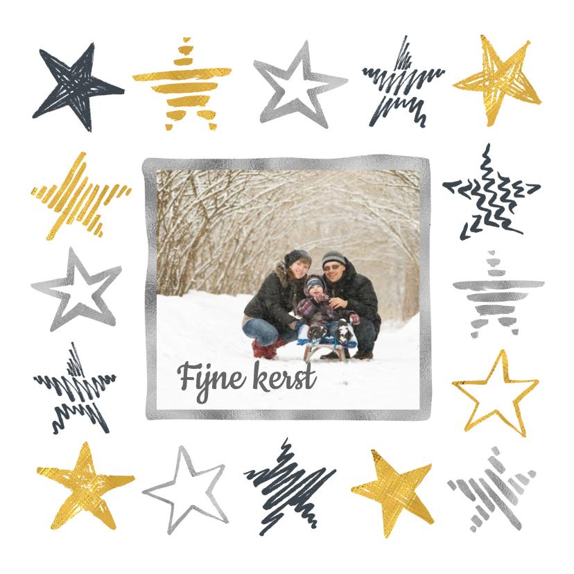 Kerstkaarten - Kerstkaart sterren en foto