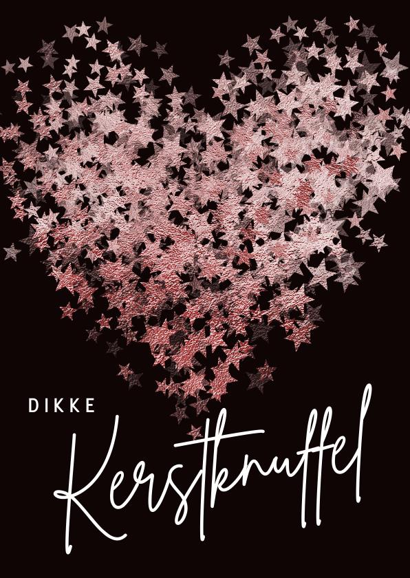Kerstkaarten - Kerstkaart sterren glitter hart roze