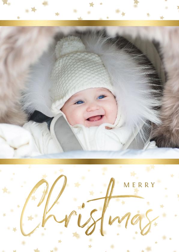 Kerstkaarten - Kerstkaart sterren met gouden accent en foto