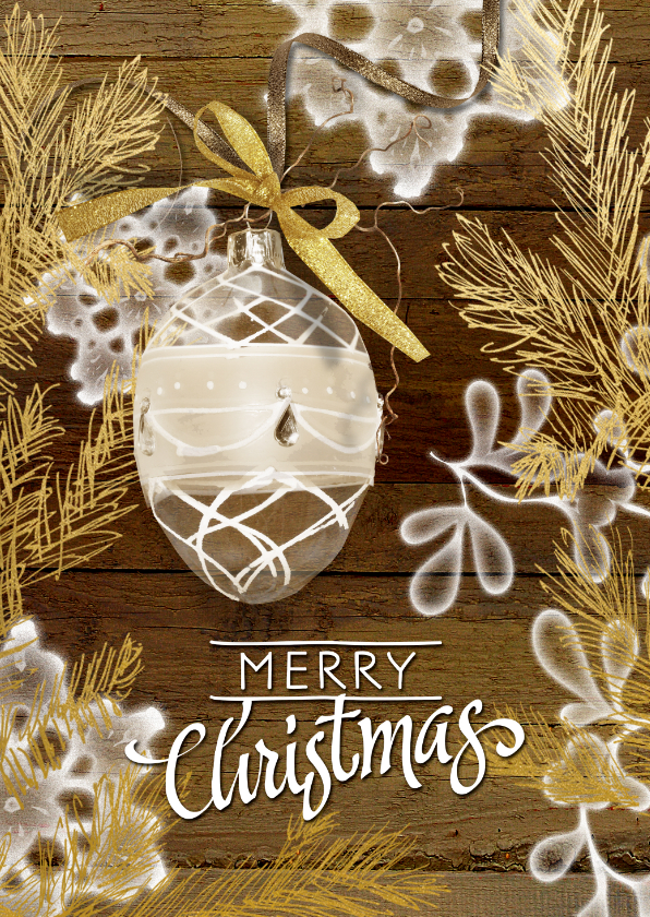 Kerstkaarten - Kerstkaart stijlvol hout goud
