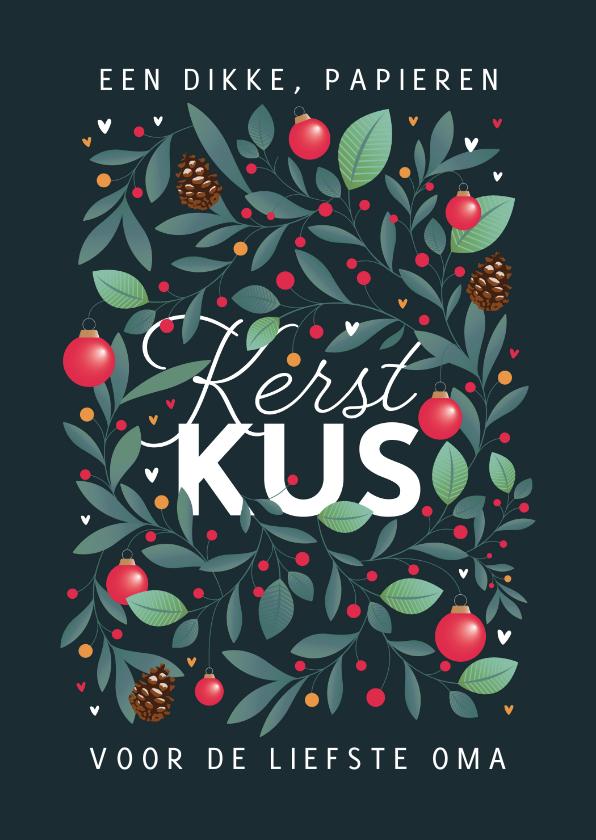 Kerstkaarten - Kerstkaart stijlvol illustratie kerstballen winter kus kerst