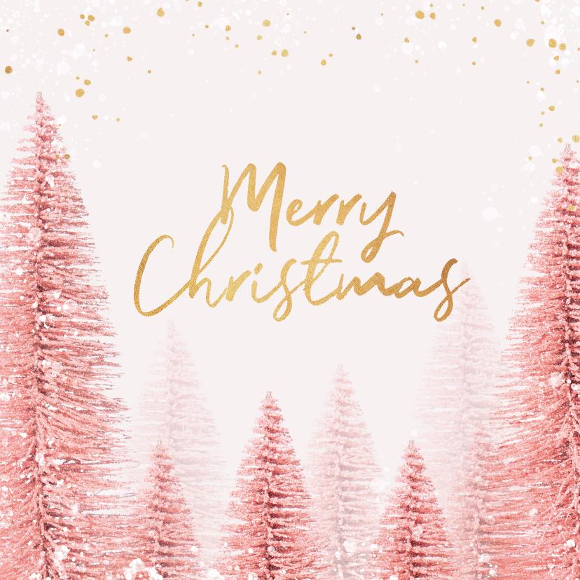 Kerstkaarten - Kerstkaart stijlvol kerstbomen roze goud magisch