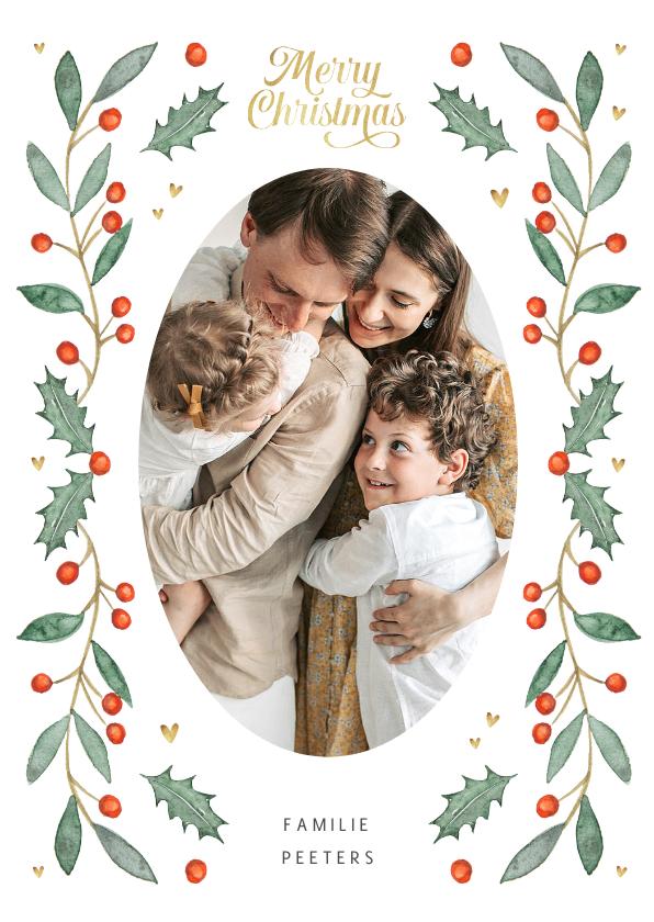 Kerstkaarten - Kerstkaart stijlvol waterverf illustraties foto hartje goud