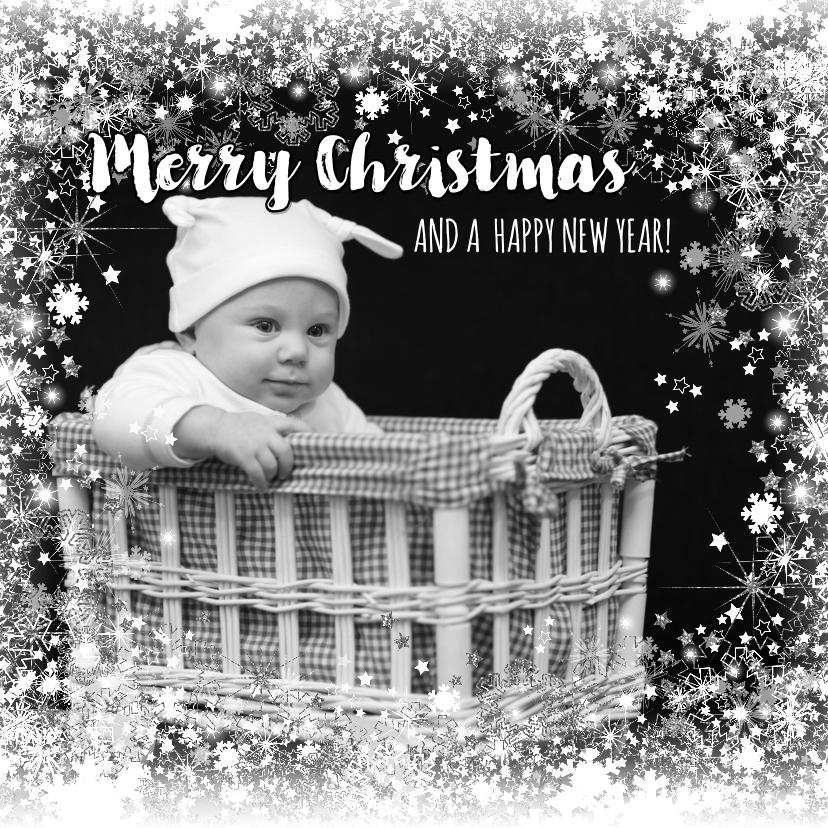 Kerstkaarten - Kerstkaart stijlvolle foto kaart ster en sneeuw zilver wit