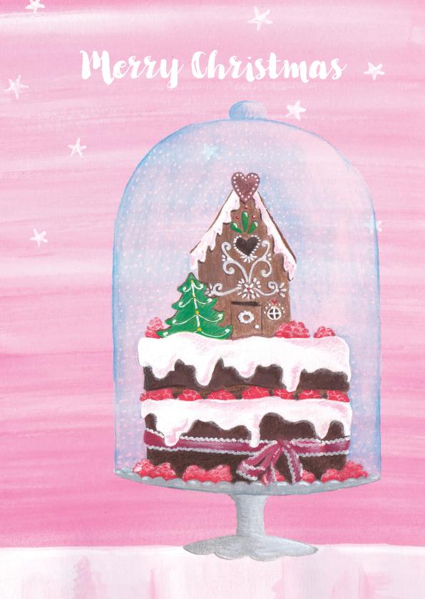 Kerstkaarten - Kerstkaart: Stolp met heerlijk kersttaartje