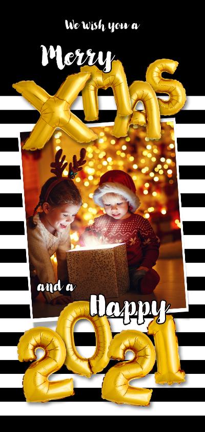 Kerstkaarten - Kerstkaart streep zwart wit ballonnen goud  xmas