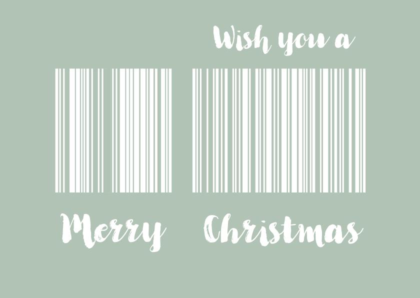 Kerstkaarten - Kerstkaart streepjescode achtergrond inkleurbaar - SG