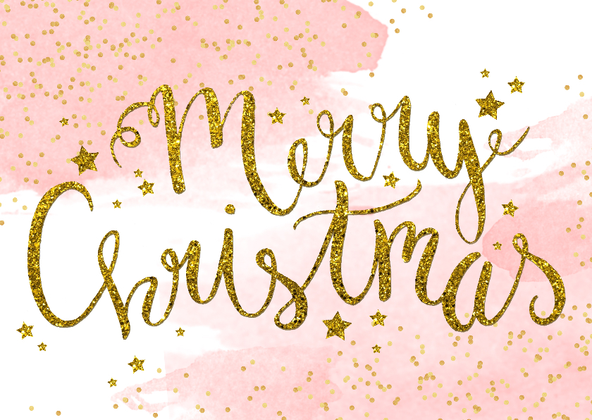 Kerstkaarten - Kerstkaart tekst aquarel glitter