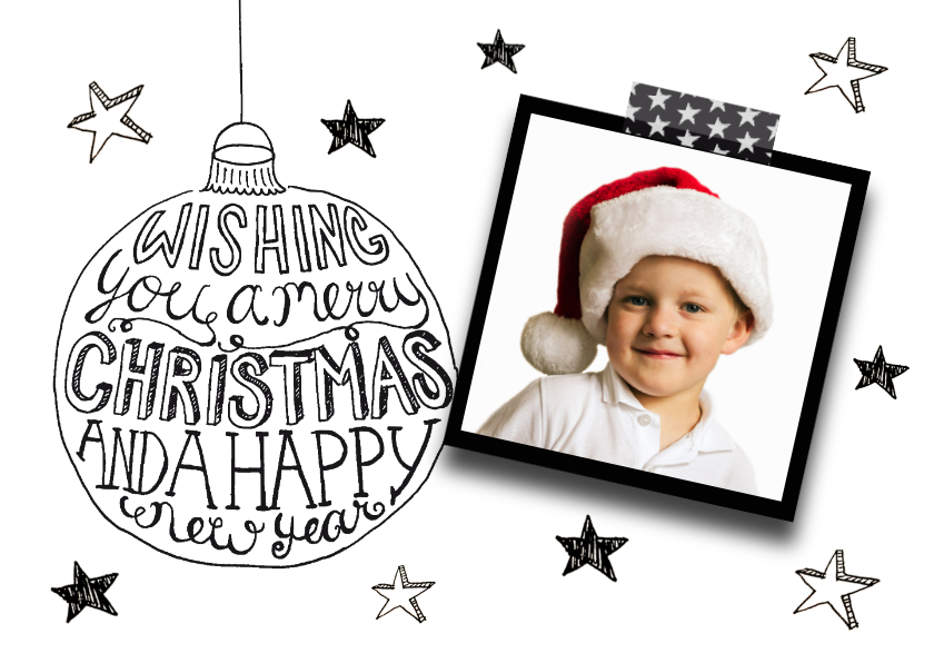 Kerstkaarten - Kerstkaart tekst & foto zwartwit