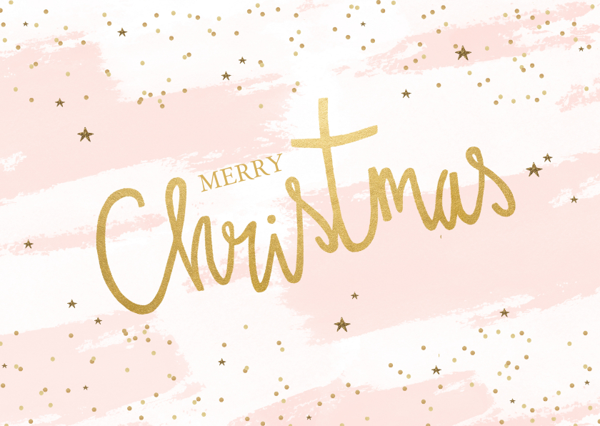 Kerstkaarten - Kerstkaart tekst goudlook confetti sterren