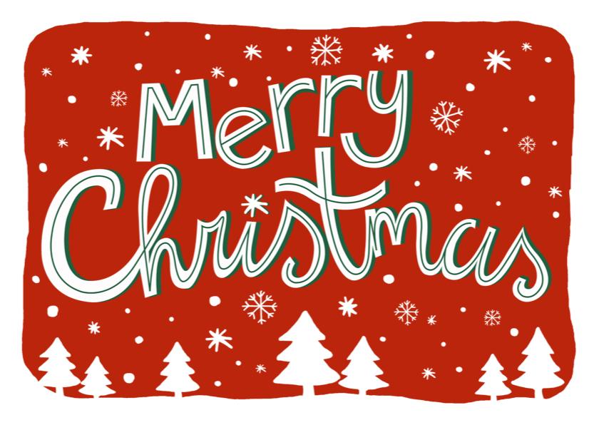 Kerstkaarten - Kerstkaart tekst sneeuw kerstbomen
