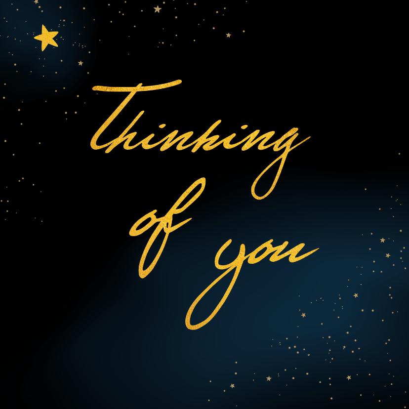 Kerstkaarten - Kerstkaart thinking of you at christmas in goudlook