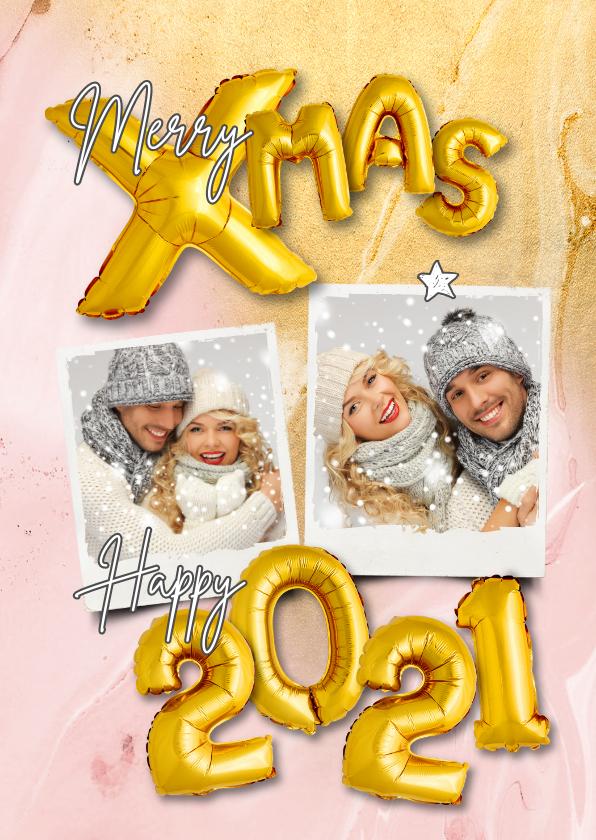 Kerstkaarten - Kerstkaart trendy ballonen goud xmas op marmer