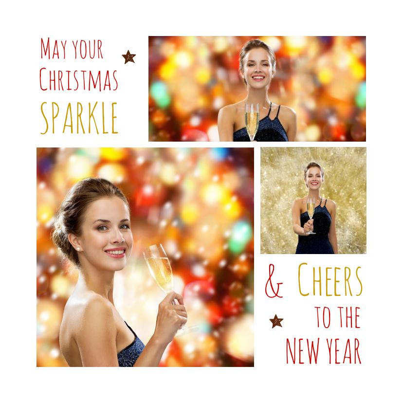 Kerstkaarten - Kerstkaart trendy collage Sparkle Cheers