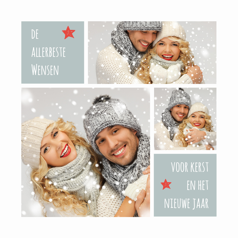 Kerstkaarten - Kerstkaart trendy foto collage aanpasbare achtergrondkleur