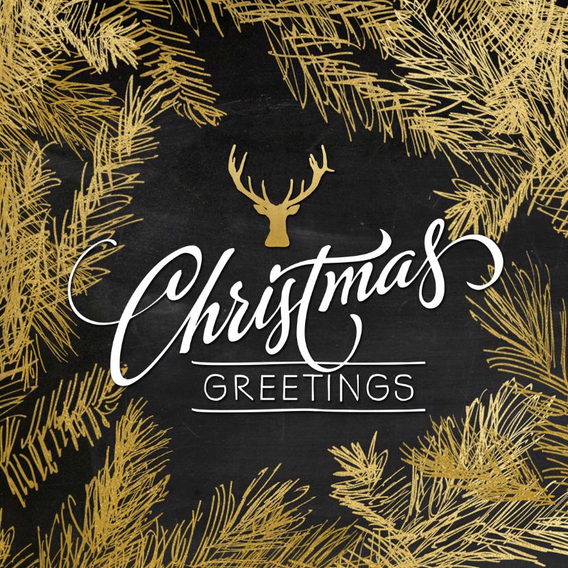 Kerstkaarten - Kerstkaart trendy gouden dennentakken met hert