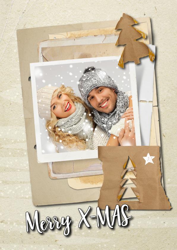 Kerstkaarten - Kerstkaart trendy papers kerstboom