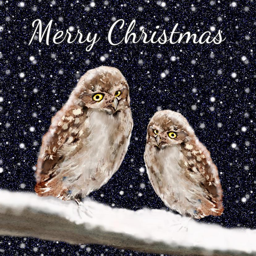 Kerstkaarten - Kerstkaart Twee uilen op een tak in