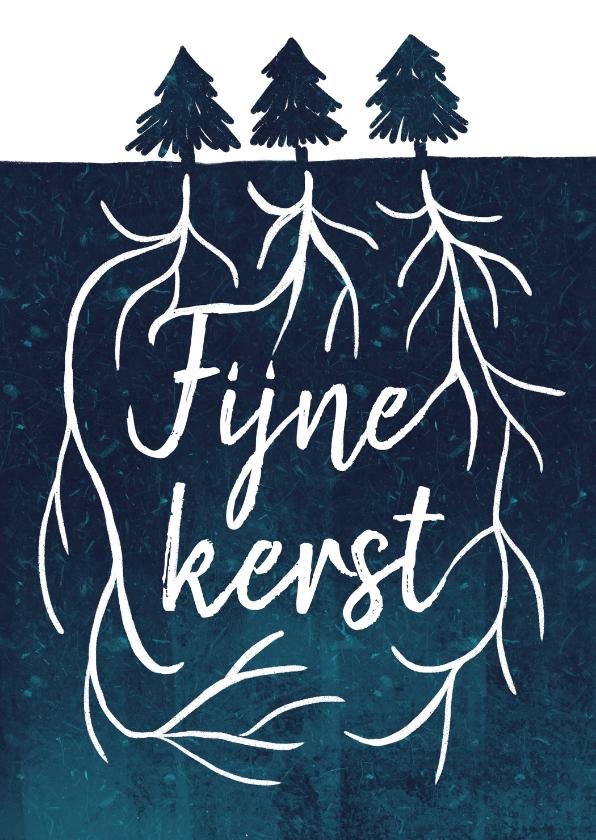 Kerstkaarten - Kerstkaart typografie boomwortels