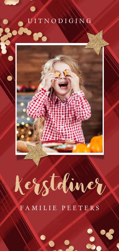 Kerstkaarten - Kerstkaart uitnodiging kerstdiner ruitjes rood confetti goud