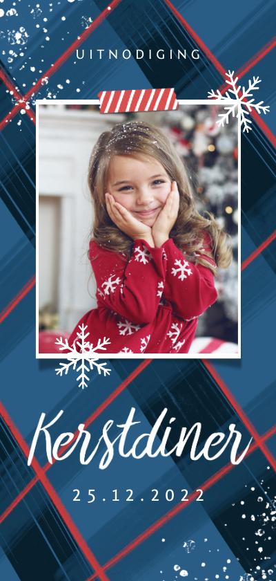 Kerstkaarten - Kerstkaart uitnodiging kerstdiner ruitjes sneeuw foto