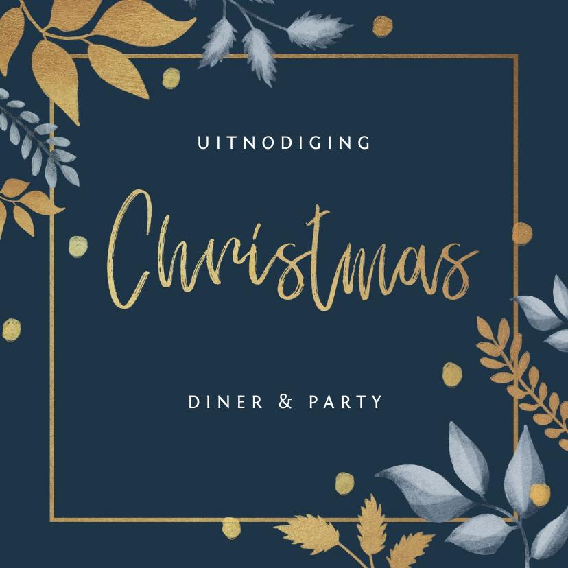 Kerstkaarten - Kerstkaart uitnodiging kerstdiner stijlvol winter