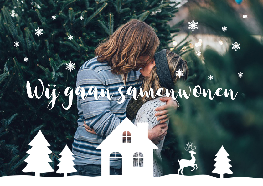 Kerstkaarten - Kerstkaart verhuiskaart foto illustratie