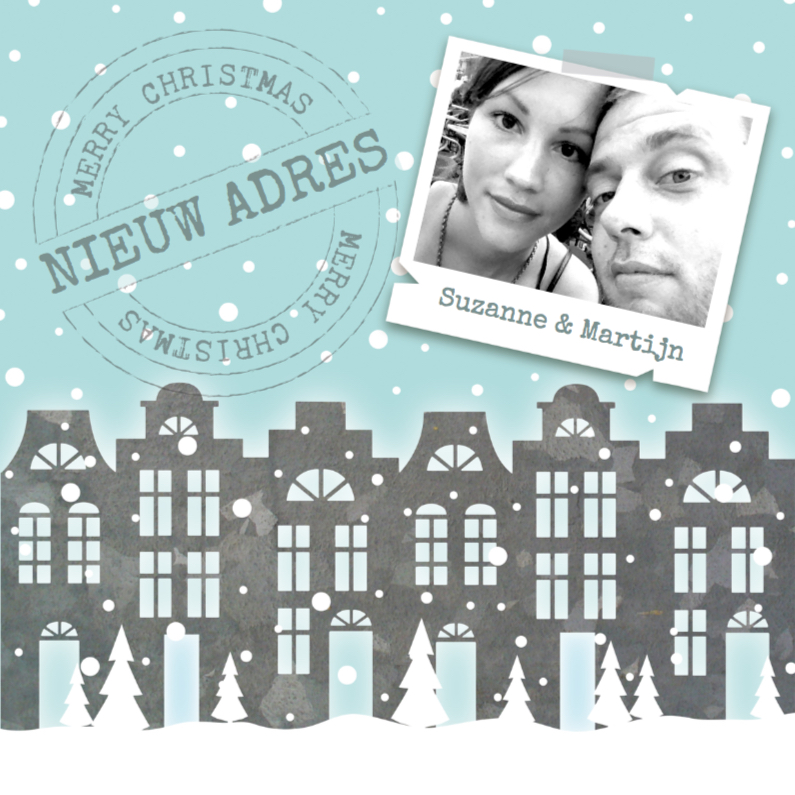 Kerstkaarten - Kerstkaart verhuiskaart huisjes sneeuw foto