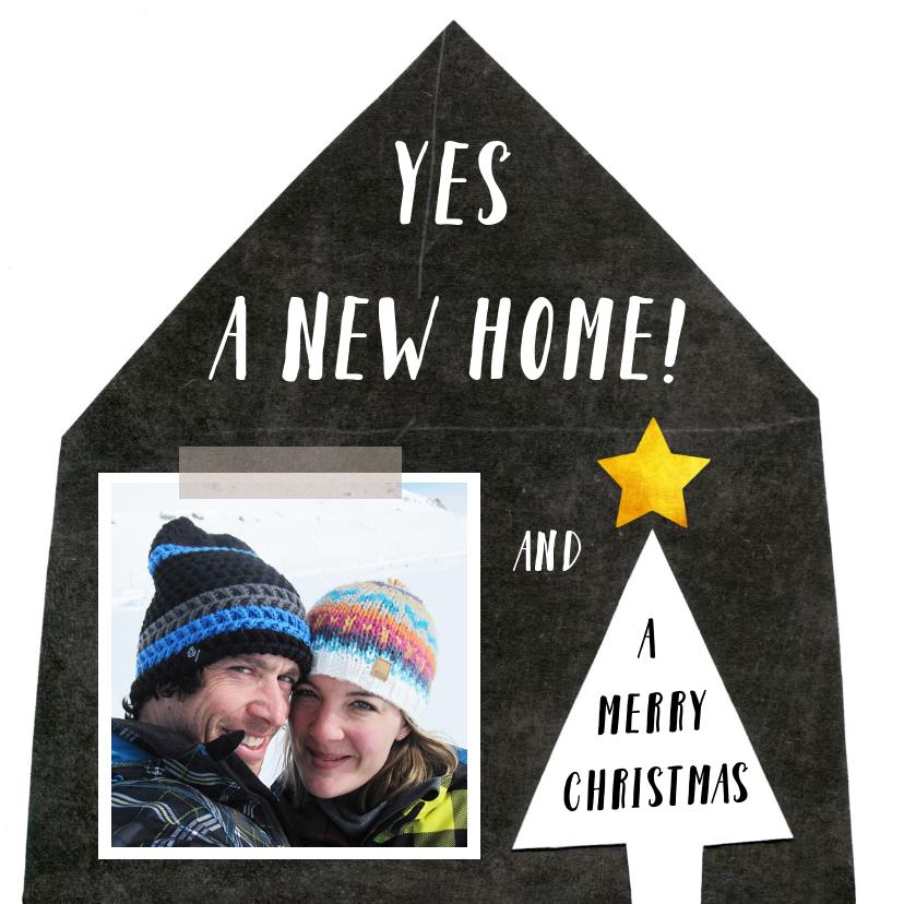Kerstkaarten - Kerstkaart verhuiskaart zwart wit