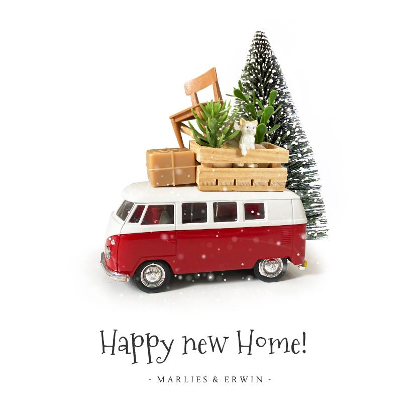 Kerstkaarten - Kerstkaart verhuizen met Volkswagen busje en spullen op dak