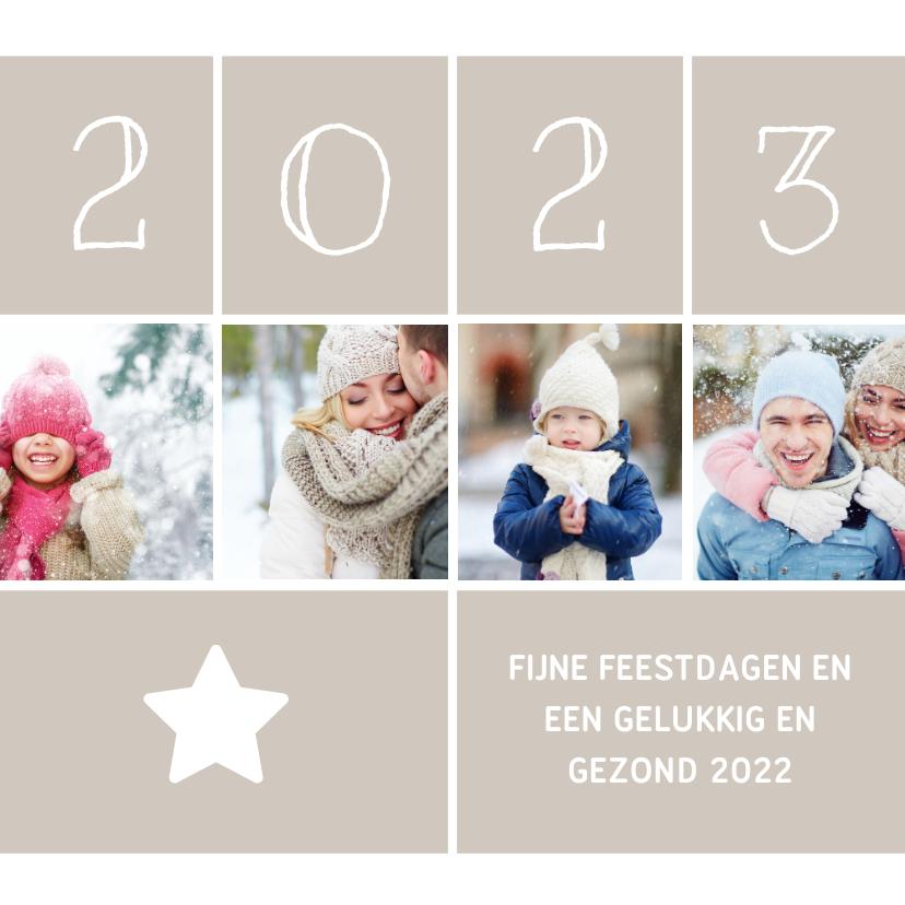 Kerstkaarten - Kerstkaart vierkant met foto's, ster en jaartal 2022