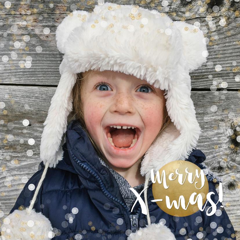 Kerstkaarten - Kerstkaart vierkant met goud en witte confetti en grote foto