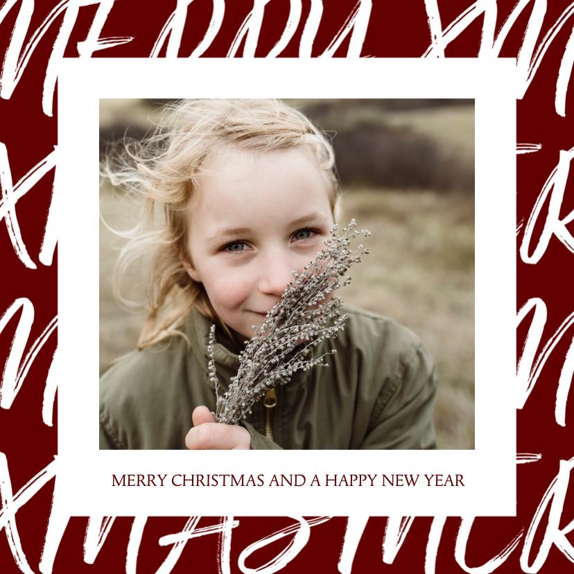 Kerstkaarten - Kerstkaart vierkant met handgeschreven tekst en foto