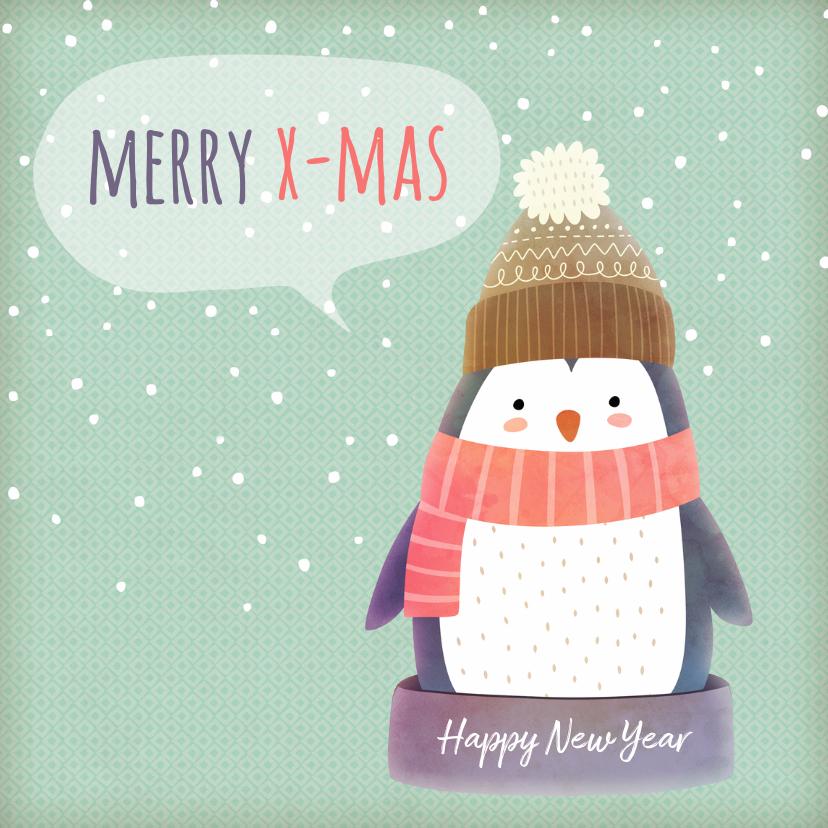 Kerstkaarten - Kerstkaart vierkant pinguïn met muts - BK