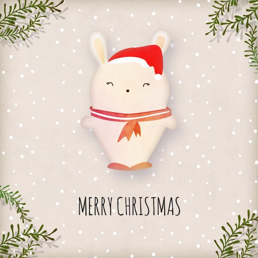 Kerstkaarten - Kerstkaart vierkant wit konijntje