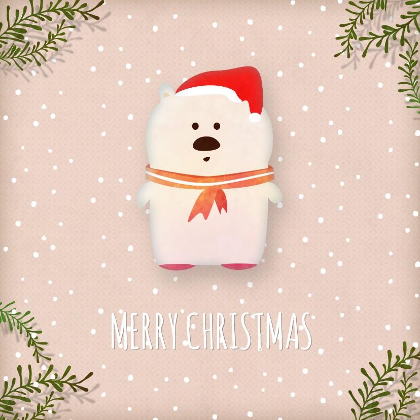 Kerstkaarten - Kerstkaart vierkant witte ijsbeer