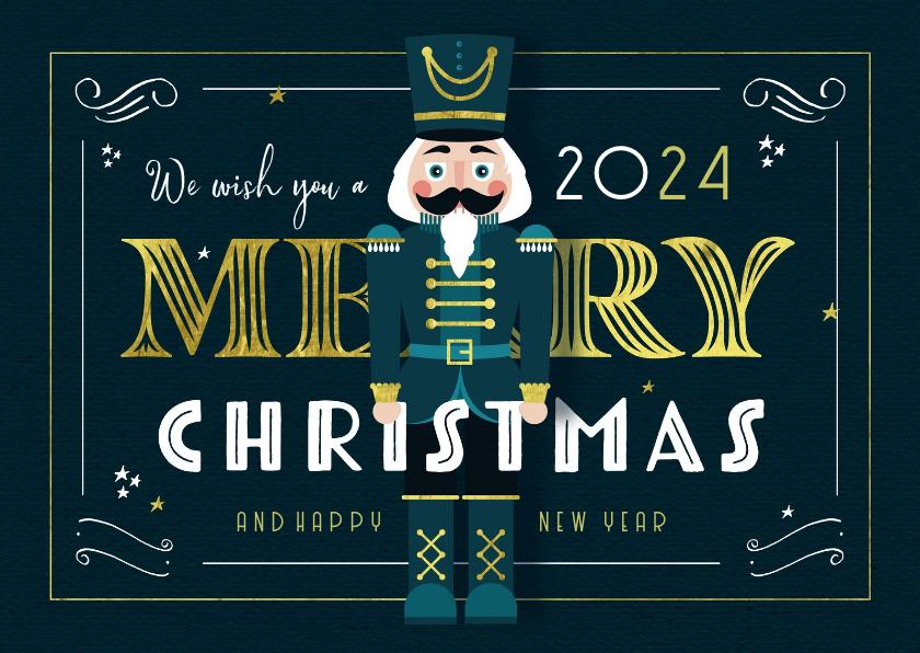Kerstkaarten - Kerstkaart vintage notenkraker goud illustratie gatsby