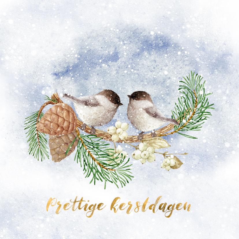 Kerstkaarten - Kerstkaart vogels in de winter