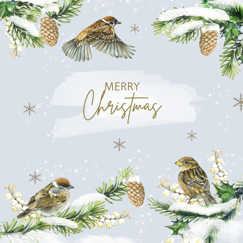 Kerstkaarten - Kerstkaart vogels op takjes winter