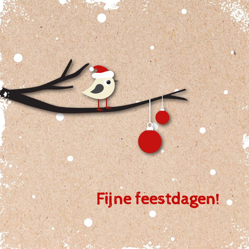 Kerstkaarten - Kerstkaart vogeltje met kerstmuts op