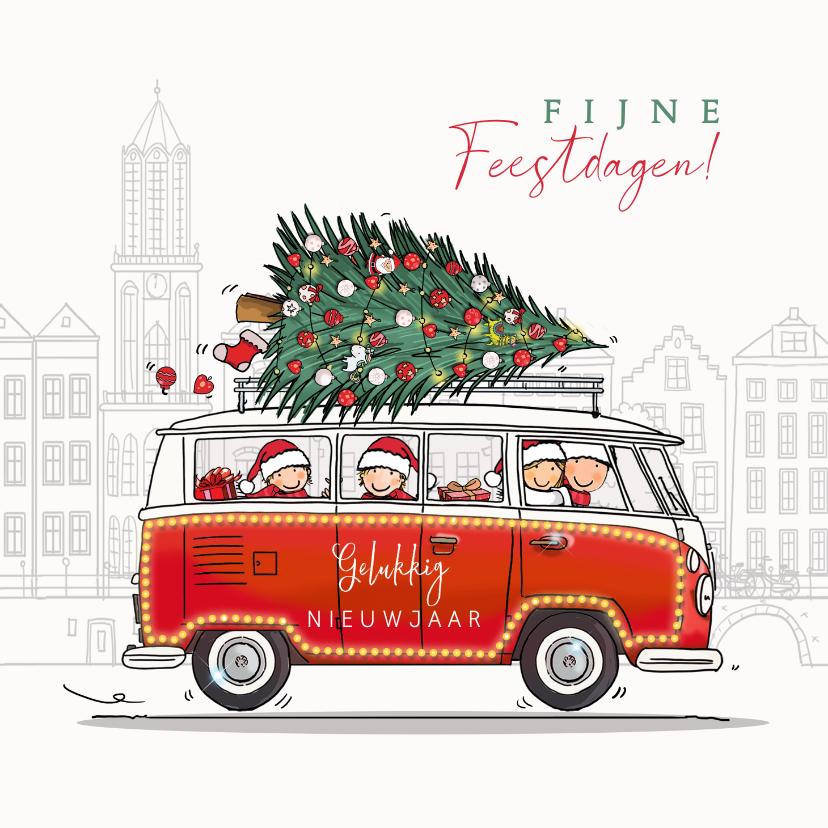 Kerstkaarten - Kerstkaart volkswagen busje rood met gezin