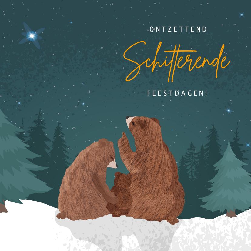 Kerstkaarten - Kerstkaart voor eerste kerst samen met illustratie van beren