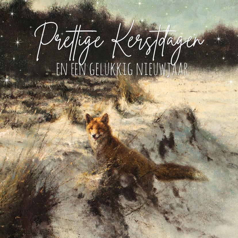 Kerstkaarten - Kerstkaart Vos in open winterbos