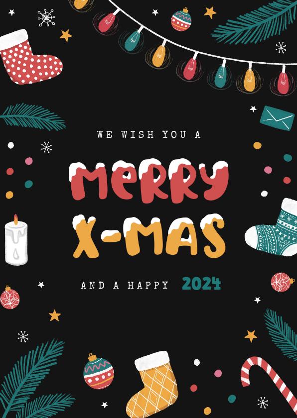 Kerstkaarten - Kerstkaart vrolijk winter kerst merry x-mas kerstbal sokken