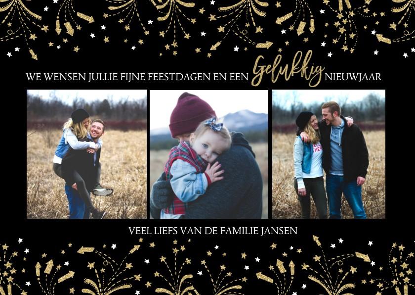 Kerstkaarten - Kerstkaart vuurwerk goud en zwart