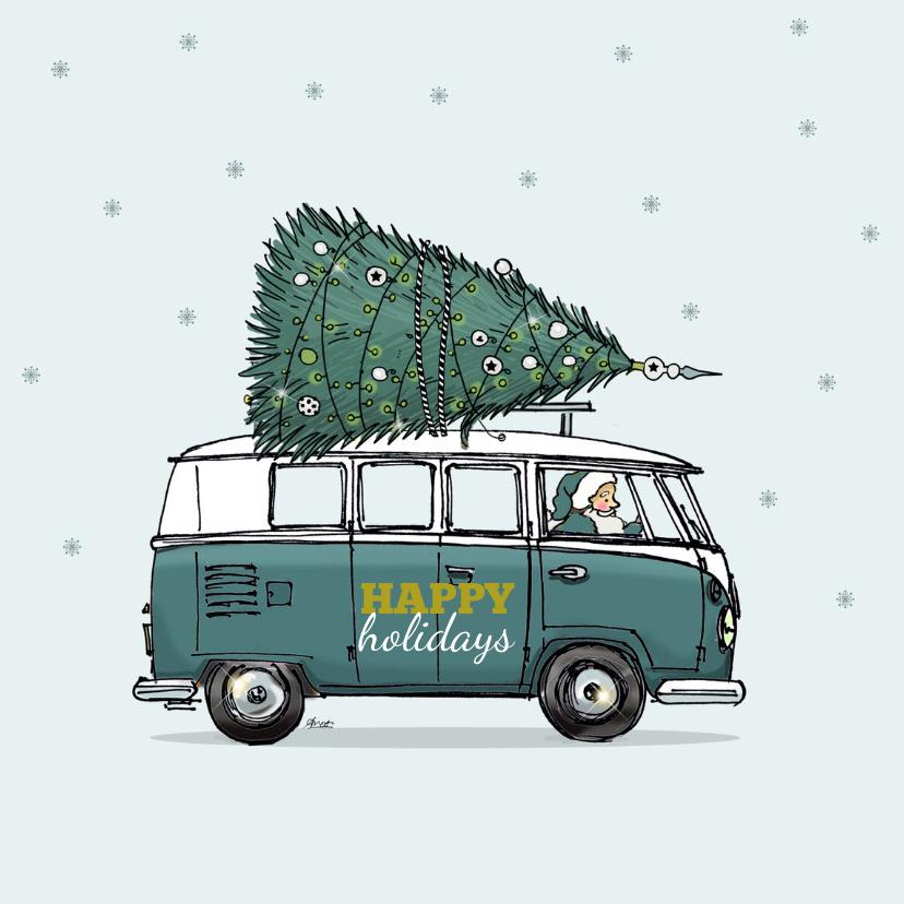 Kerstkaarten - Kerstkaart VW bus groen av