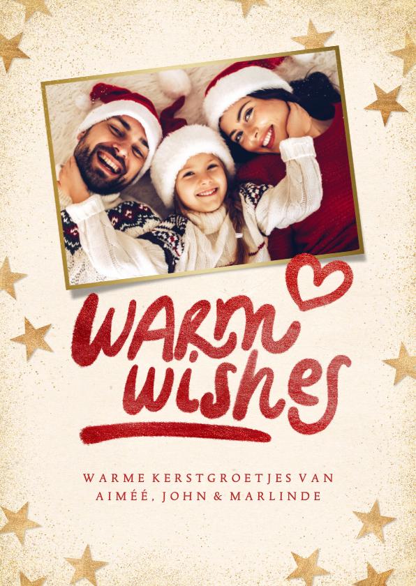 Kerstkaarten - Kerstkaart 'Warm wishes' eigen foto