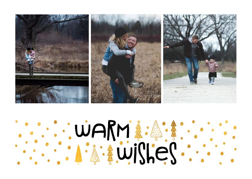 Kerstkaarten - Kerstkaart 'warm wishes' goudlook met foto's
