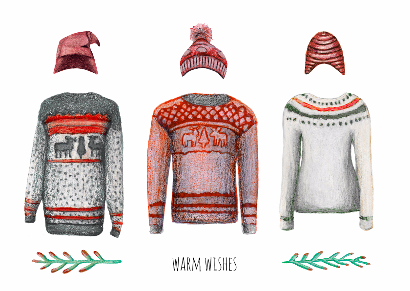 Kerstkaarten - Kerstkaart warm wishes met illustraties